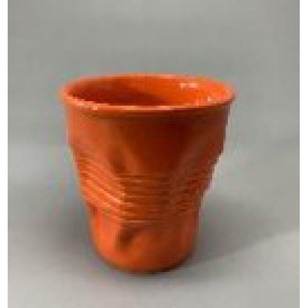 Стакан мятый, керамика, 360 мл, оранжевый