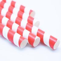 Трубочка бумажная с красной смужкой 20 см (50 шт/уп)