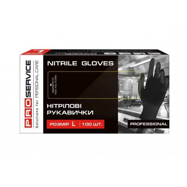 Перчатки нитриловые Professional PRO черные, размер L (100 шт/уп)