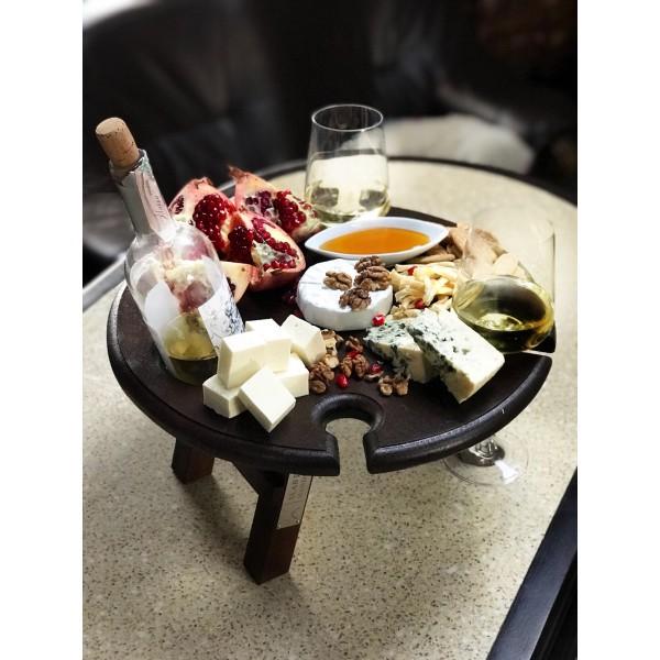 Винный столик темный - ольха, 40 см