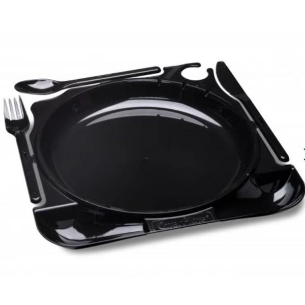 Комбо-тарелка (вилка+нож+ложка), 225*195*12 мм, черная