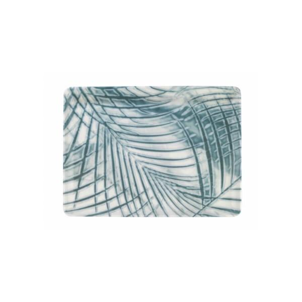 Тарелка для подачи прямоугольная 27х20 см бело-голубая Kutahya