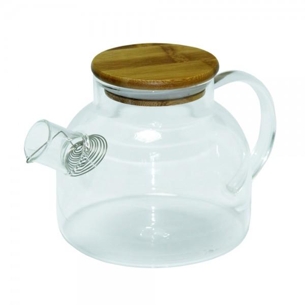 Стеклянный чайник с деревянной крышкой, 1 л
