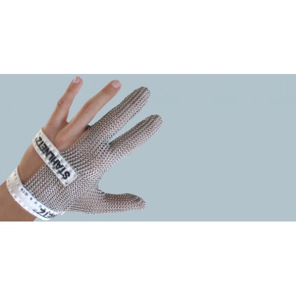 Кольчужная перчатка на 3 пальца с тканевым ремешком, размер L