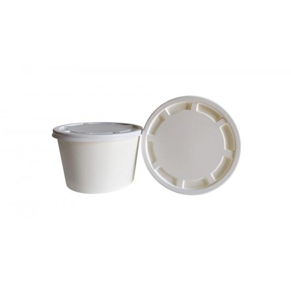 Супница бумажная с крышкой 500 мл белая (50 шт/уп)