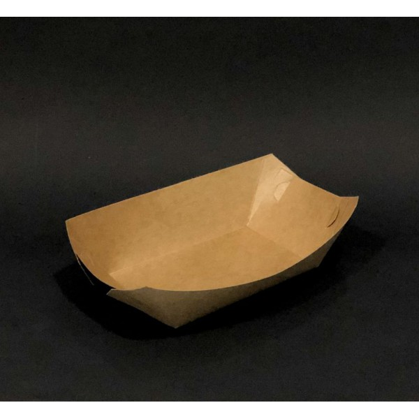 Крафтовая тарелка-лодочка ламинированная 215х145 мм (100 шт/уп)