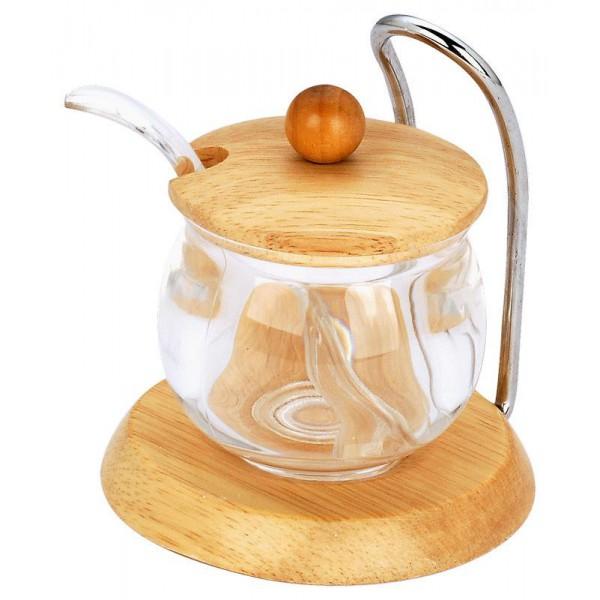 Стеклянная сахарница с крышкой и ложечкой, 150 мл
