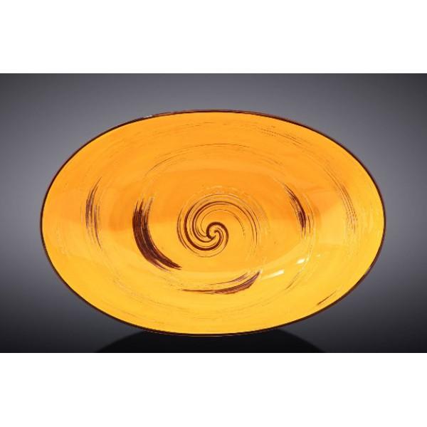 Блюдо овальное глубокое Wilmax SPIRAL YELLOW 25х16,5х6см