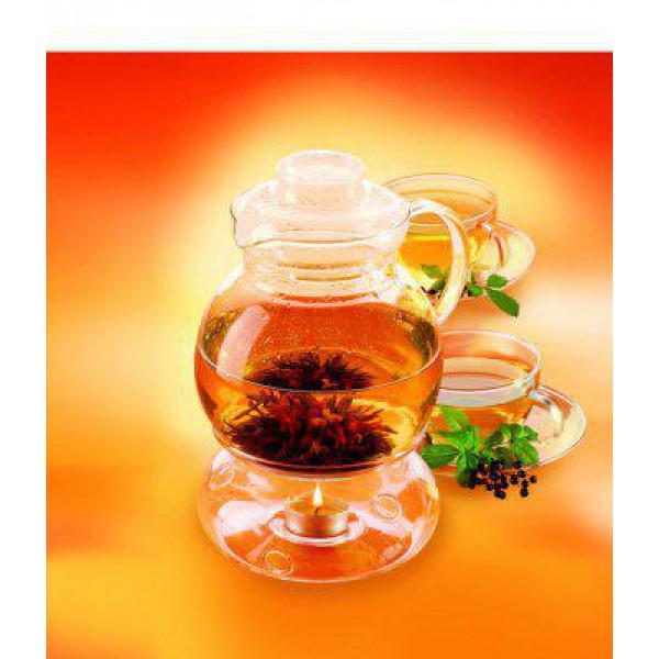 Стеклянный чайник с колбой для подогрева 1,5 л
