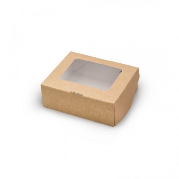 Крафтовый контейнер с окошком, 1500 мл, 200*200*40 мм (50 шт/уп)
