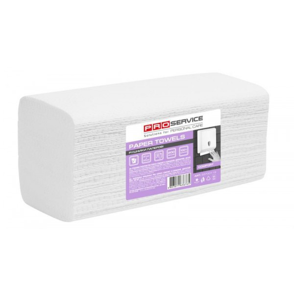 PROservice Comfort Бумажное полотенце V-скл. Двухслойное 200 шт. Белое.
