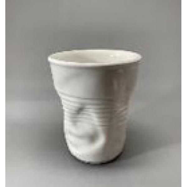 Стакан мятый, керамика, 210 мл, белый