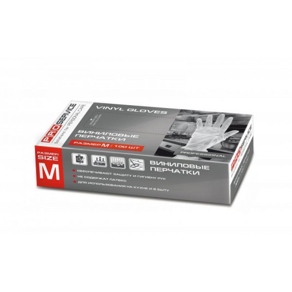 Перчатки виниловые Professional размер М (100 шт/уп)