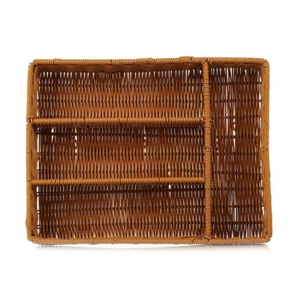 Корзина плетенная для столовых приборов, 4 отделения