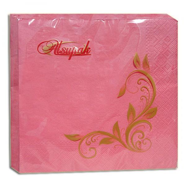 Салфетка 2-х слойная 33х33 см розовая (100шт/уп)