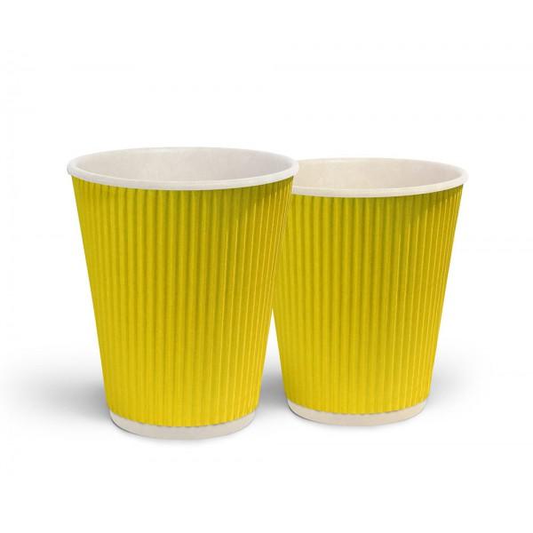Стакан гофрированный желтый 350 мл (25шт/уп)