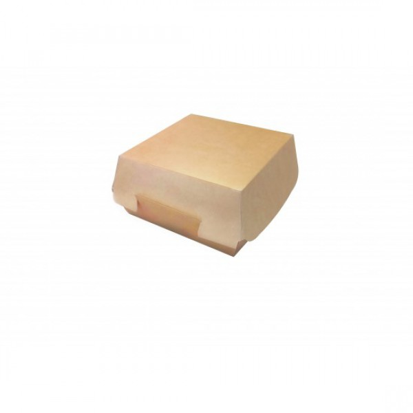 Крафтовая коробка для бургера, белая внутри, 120*120*70 мм (50 шт/уп)