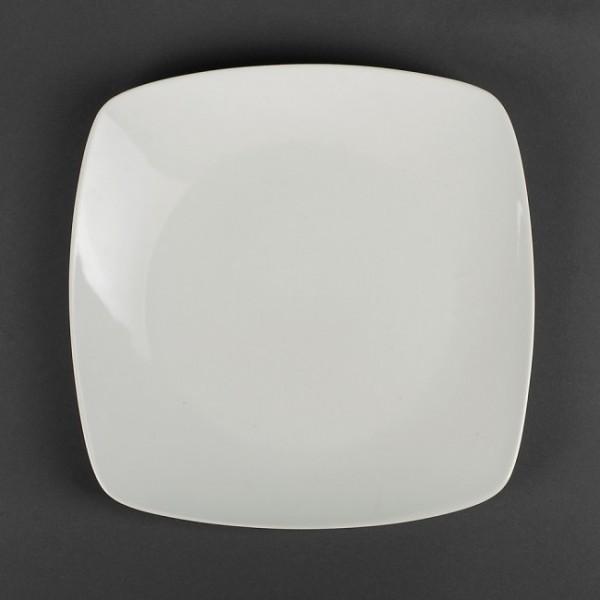Тарелка квадратная белая фарфоровая, 24 см