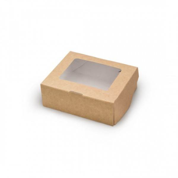 Крафтовый контейнер с окошком, 500 мл, 170*70*40 мм (100 шт/уп)