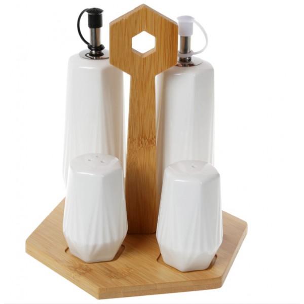 Набор для специй и масла на бамбуковой пдставке (4 предмета)
