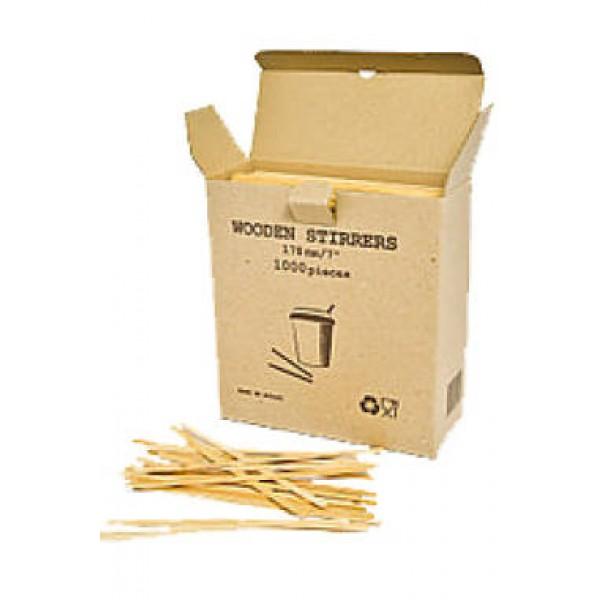 Мешалки деревянные для кофе в картонной коробке, 14 см (1000 шт/уп)
