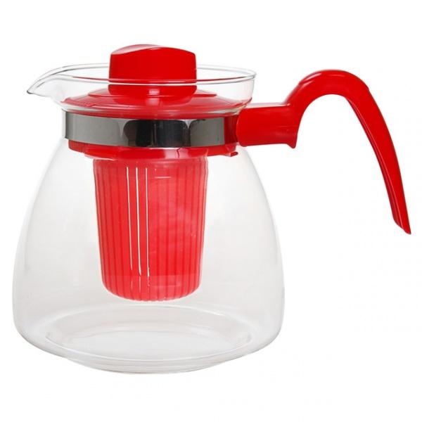 Стеклянный чайник с пластиковым заварником Maja, 1.25 л