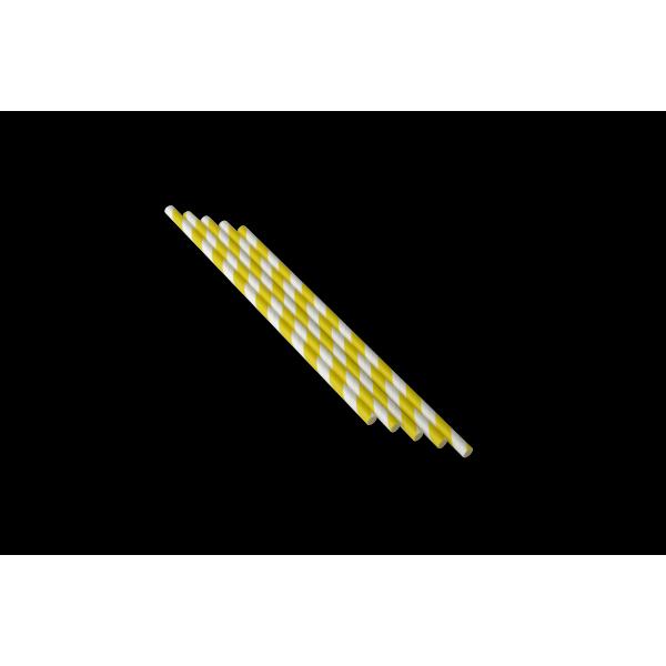 Трубочка бумажная желтая смужка 250 шт/уп (d-6 мм)
