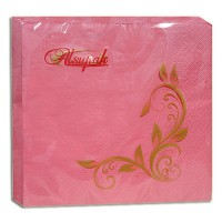 Салфетка 2-х слойная 33х33 см розовая (20шт/уп)