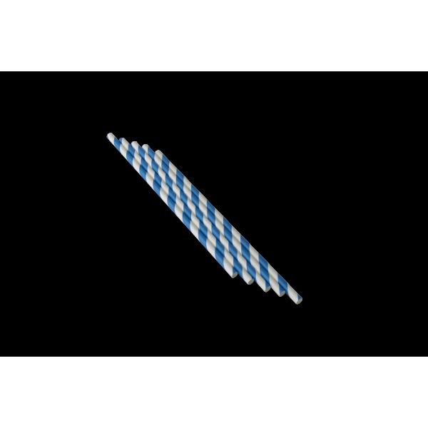 Трубочка бумажная с синей смужкой 250 шт/уп (d - 6 мм)