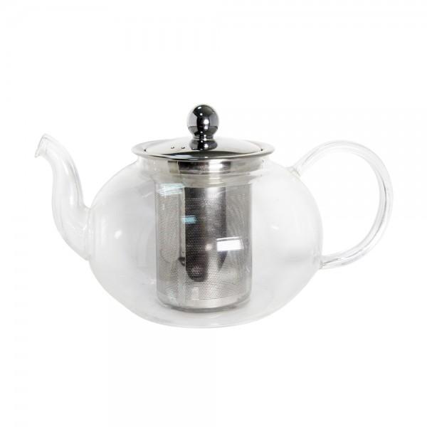 Стеклянный чайник с металлическим заварником, 900 мл
