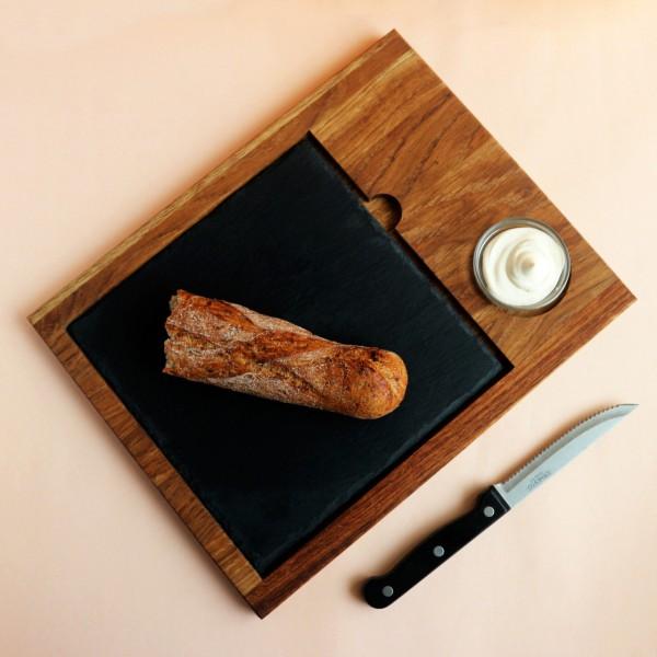 Доска со сланцем и соусником 20х20 см