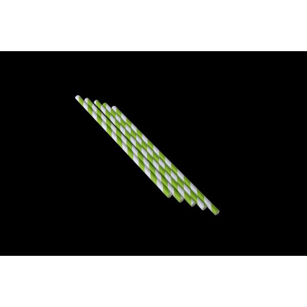 Трубочка бумажная с зеленой смужкой 20 см (250 шт/уп)