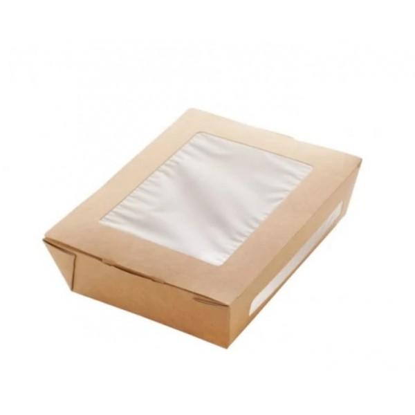 Контейнер бумажный с окошками 190*150*50мм 1000мл (50 шт/уп)