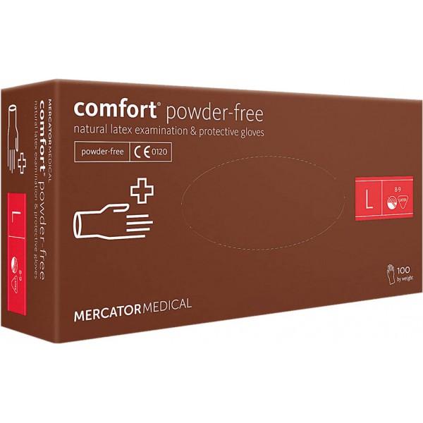 Перчатки латексные неопудренные Comfort 100 шт, размер L