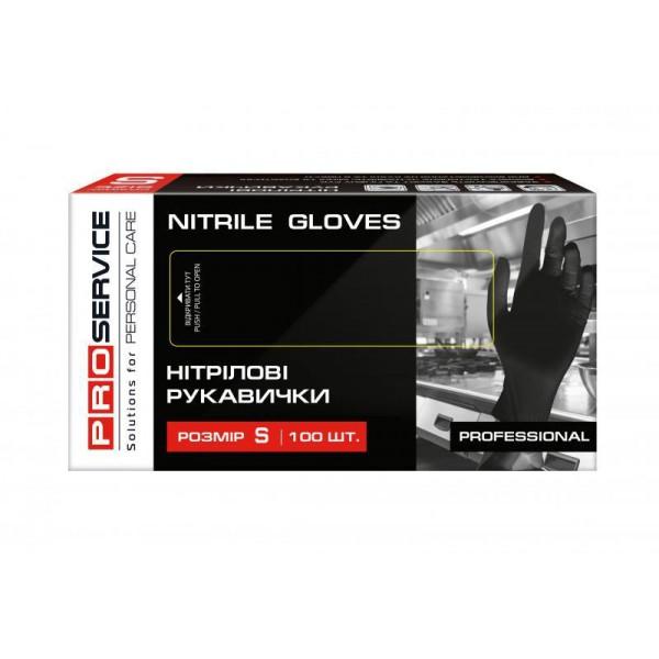Перчатки нитриловые Professional PRO черные, размер S (100 шт/уп)