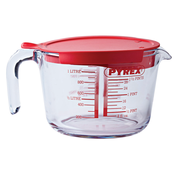 Мерная стеклянная кружка с крышкой, 1 литр
