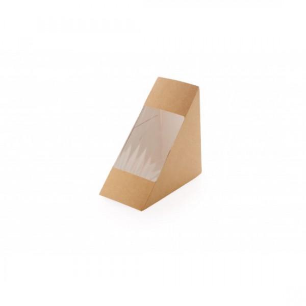 Бумажный контейнер для сендвича с окошком, 130*130*60 мм (50 шт/уп)