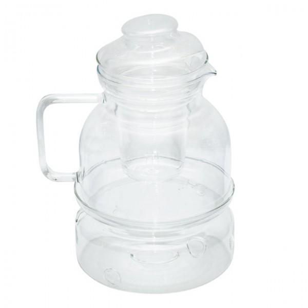 Стеклянный чайник с заварником и колбой для подогрева 1,5 л