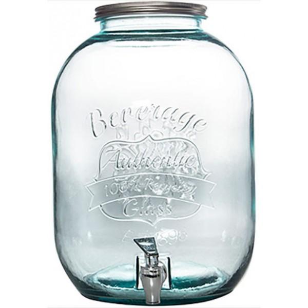 Диспенсер стеклянный для напитков с крышкой и краном 12,5 л