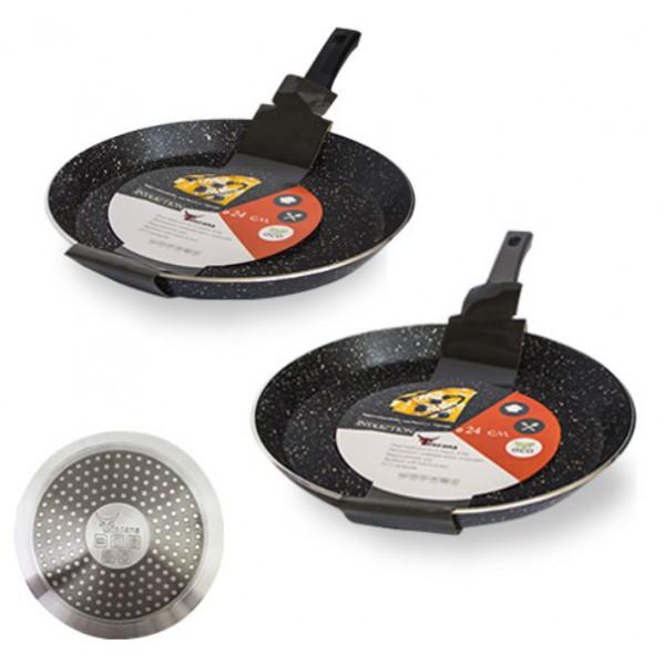 Сковорода для блинов с антипригарным, мраморным покрытием Hi-Tech 24см