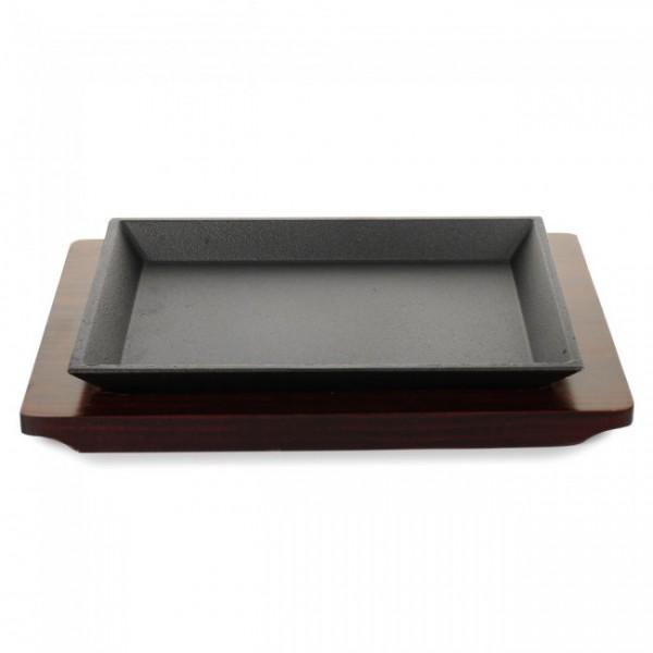 Тарелка-сковорода на деревянном подносе, 22х16 см