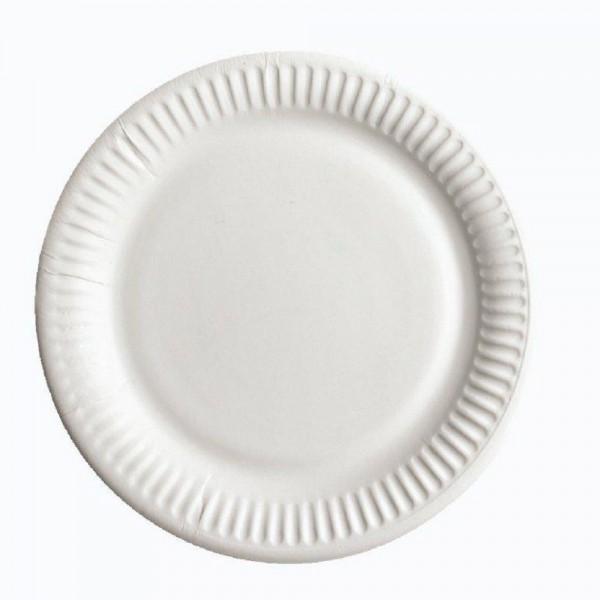 Бумажная тарелка 23 см белая (100 шт/уп)