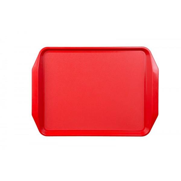 Поднос пластиковый с ручками 43х31 см красный