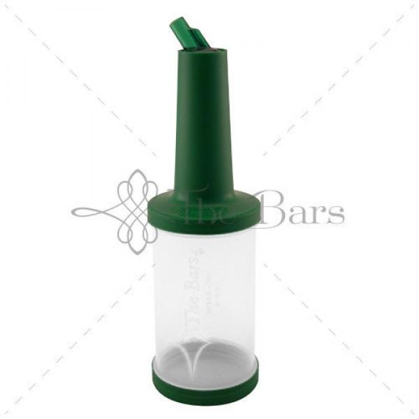 Бутылка с гейзером прозрачная 1 л (зеленая крышка)