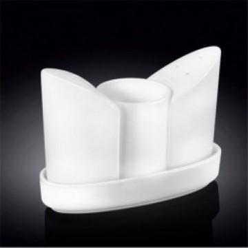 Набор для специй белый: соль+перец+зубочистки