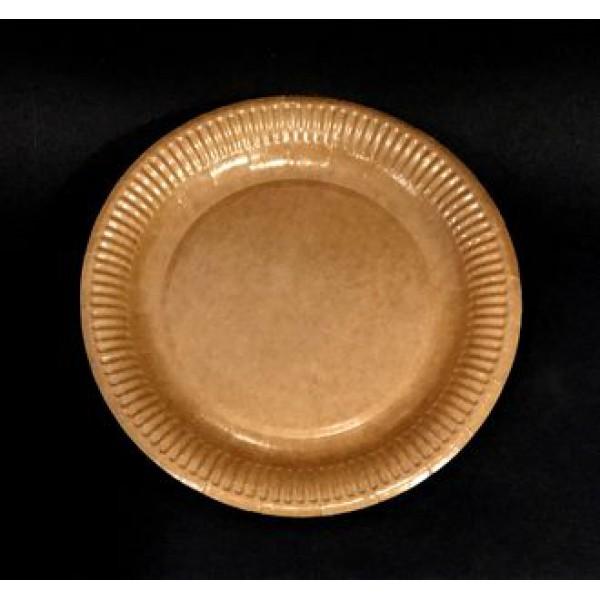 Крафтовая тарелка ламинированная 18 см (100 шт/уп)