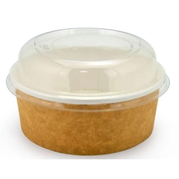 Салатник крафт 750 мл, Ø=150мм, h=60мм + крышка купольная, Ø=150мм, h=30мм (50 шт/уп)