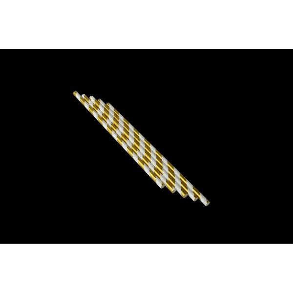 Трубочка бумажная с золотой фольгой 250 шт/уп