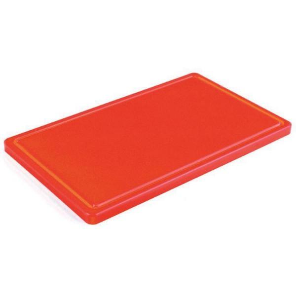 Профессиональная разделочная доска красная с желобом, 32,5х26,5х2 см