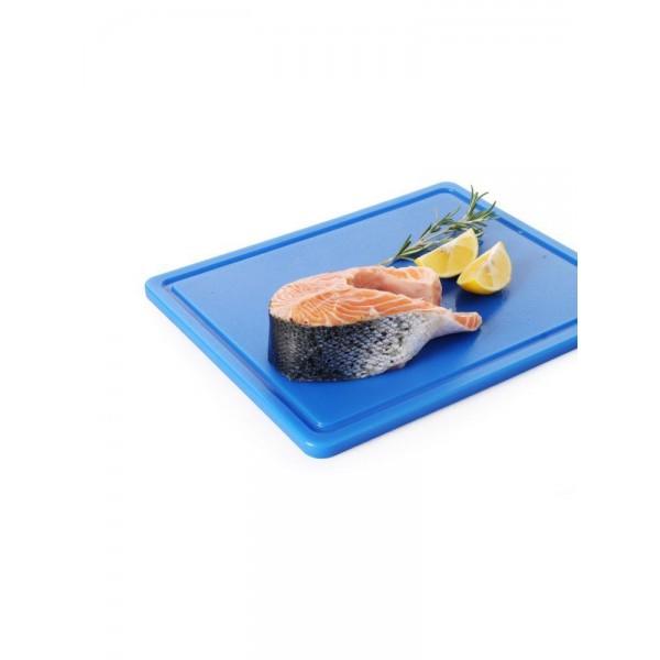 Профессиональная разделочная доска с желобом, синяя, 32,5х26,5х2 см